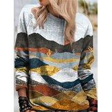 Landscape Multi-color Print O-neck Retro Long Sleeve Vintage Blouse For Women