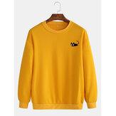Herren niedlich Katze Muster einfarbig mit Rundhalsausschnitt lässig Pullover Sweatshirt