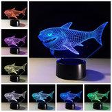 Tubarão3DNightLight7Cores Mudando LED Interruptor de Toque USB Presente Da Lâmpada de Mesa para as Decorações