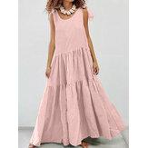 Damska jednokolorowa regulowana sukienka na ramiona, plisowana, świąteczna sukienka maxi