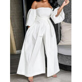 Women Solid Off Shoulder Lace Up Casual Wide Leg Jumpsuits With Pocket