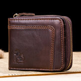 RFID Blocking Secure Wallet Vintage Genuine Leather 13 Card Slots Money Bag For Men
