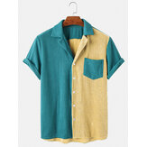 Mens Corduroy Loose Button Down Patchwork Pocket Breathable Casual Shirts