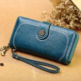 Dames PU-leer 6,3 inch telefoonhouder Multi-slots kaarthouder Lange portemonnee portemonnee