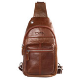 Men Genuine Leather Brown Chest Pack Crossbody Shoulder Bag Travel Sling Bag
