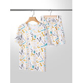 Plus Size Women Graffiti Print Short Sleeve Drawstring Casual Pajama Set