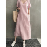 Women Cotton Short Sleeve V-neck Side Pocket Solid Midi Dress
