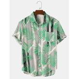 رجل عطلة يترك & كتلة شريط طباعة قمصان جيب قصيرة الأكمام