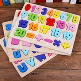Children Wooden Digital Letters Three-dimensional Jigsaw Puzzle Matching Game Shape Cognitive Blocks Toys