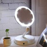 10X Powiększające się, dwustronne lusterko do makijażu LED Składana łazienka w podróży