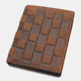 Men Genuine Leather Plaid Pattern RFID Anti-theft Personality Leather Wallet