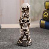 Skull Car Ornament Hear / See / Speak No Evil Stacked Totem Pole Articoli per l'arredamento del desktop Gothic Dark Science Toy