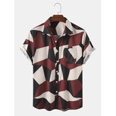 Herren Designer Geometric Color Block Kurzarm Casual Shirts