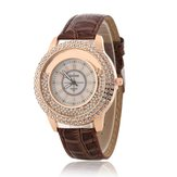 Mode Colorful lederen band kristal vrouwen quartz horloge
