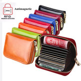 RFID Genuine Leather Zipper 15 Card Holder Oil Short Purse Wallets Coin Bags
