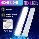 10LED Auto PIR Motion Sensor Cabinet Light Wireless Sticker Night Light for Closet Wardrobe