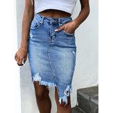 Women Pocket Irregular Hem High Waist Ripped Denim Skirts