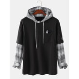 Mens Patchwork Plaid Contrast Faux Twinset Casual Drawstring Hoodies Dengan Saku