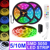 5M 10M Flexible RGB LED Strip Light Non-waterproof SMD5050 Color Changing Tape Lamp with Remote Control DC12V