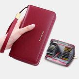 Cartera larga de gran capacidad Piel Genuina para mujer Simple RFID Antirrobo 6,5 Inch Cartera de embrague Ranuras para múltiples tarjetas Titular de la tarjeta Monedero