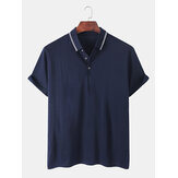 Mens Solid Color Fold Down Collar Breathable Half Open Casual Golf Shirts