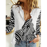 Women Zebra Print Patchwork Button Up Long Sleeve Casual Shirts
