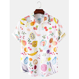 Mens Casual Colorful Fruit Print Lapel Collar Short Sleeve Cute Shirts