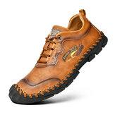 Homens Couro Genuíno Costura à mão antiderrapante Sapatos casuais