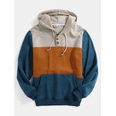 Mens Color Block Half Open Button Long Sleeve Hoodies With Kangaroo Pocket