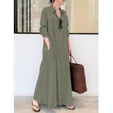 Frauen Retro einfarbig Turn-Down-Kragen Loose Casual Shirt Kleid mit Tasche