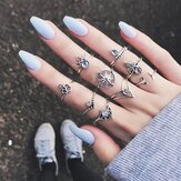 9 Pcs Bohemian Statement Set Cincin Helm Leaf Knuckle Rings
