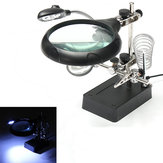 5 LED Light Magnifier Lupa Suporte de solda de mão auxiliar com 3 Lens