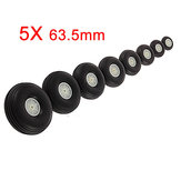 5X 63.5MM Rubber Wheel For RC Airplane And DIY Robot Tires