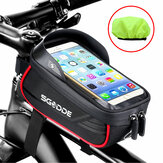 SGODDE Bike Phone Bag Bike Frame Holder Waterproof Touchable Large Capacity Bike Accessories Bag with Sun Visor for 5.5-6.5 Inch Phone