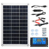 Max 100W Protable Solar Panel Kit Dual DC USB Charger Kit Single Crystal Semi-flexible Solar Power Panel w/ None/10A/30A/60A/100A Solar Controller