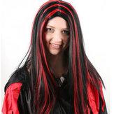 Peruki na Halloween pełne Peruki do włosów Anime Długie proste włosy Czarne z czerwonym