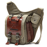 Men Canvas Retro Travel Cycling Crossbody Bag Chest Bag Military Messenger School Travel Hiking Satchel