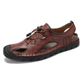 Menico Men Hand Stitching Hollow Non Slip Elastic Lace Casual Leather Sandals