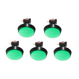 5Pcs Green LED Light 60mm Arcade Video Game Player Push Button Switch