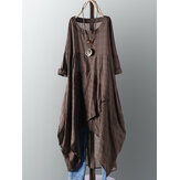 Vintage Cotton Plaid Asymmetric Maxi Dress