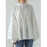 Blusa feminina de manga curta com colarinho curativo com costura casual