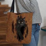 A nők aranyos 3D-s háromdimenziós rajzfilm fekete macska mintás válltáska kézitáska toté