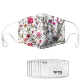 PM2.5 Dust Masks Flowers Pattern Polyester Fashion Dustproof Mask with 7 PM2.5 Mask Filter