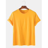 Mens Solid Color Cotton Loose Short Sleeve Crew Neck T-Shirts