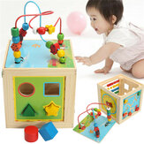 5 в 1 Kids Multi Function Colorful Wooden Activity Cube Игрушки Puzzle Bead Maze