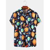 Herre Space Print Cartoon mønster Sjove korte ærmer skjorter