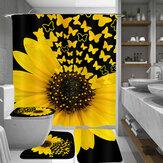 Ayçiçeği Kelebek Baskı Su Geçirmez Banyo Duş Perdesi Tuvalet Kapağı Halı Tuvalet Paspas Seti Dekor