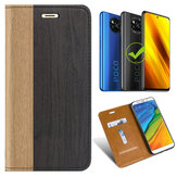Bakeey for POCO X3 NFC Case Wooden Texture Flip with Card Slot Stand PU Leather Full Body Protective Case Non-original