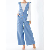 Women Solid Color Plain V-Neck Button Pocket Casual Back Crisscross Jumpsuit