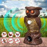 Owl Decoy Bird Repellent Pest Control con occhi lampeggianti Repellente ad ultrasuoni per la decorazione di protettori da giardino all'aperto